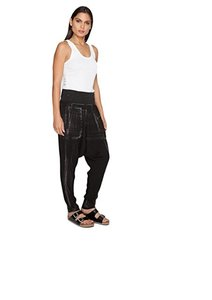 Johnny Was Eclectic Boho Drop Crotch Relaxed Pants Black