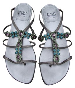 Stuart Weitzman Thong Gems Jewels Turquoise Sandals