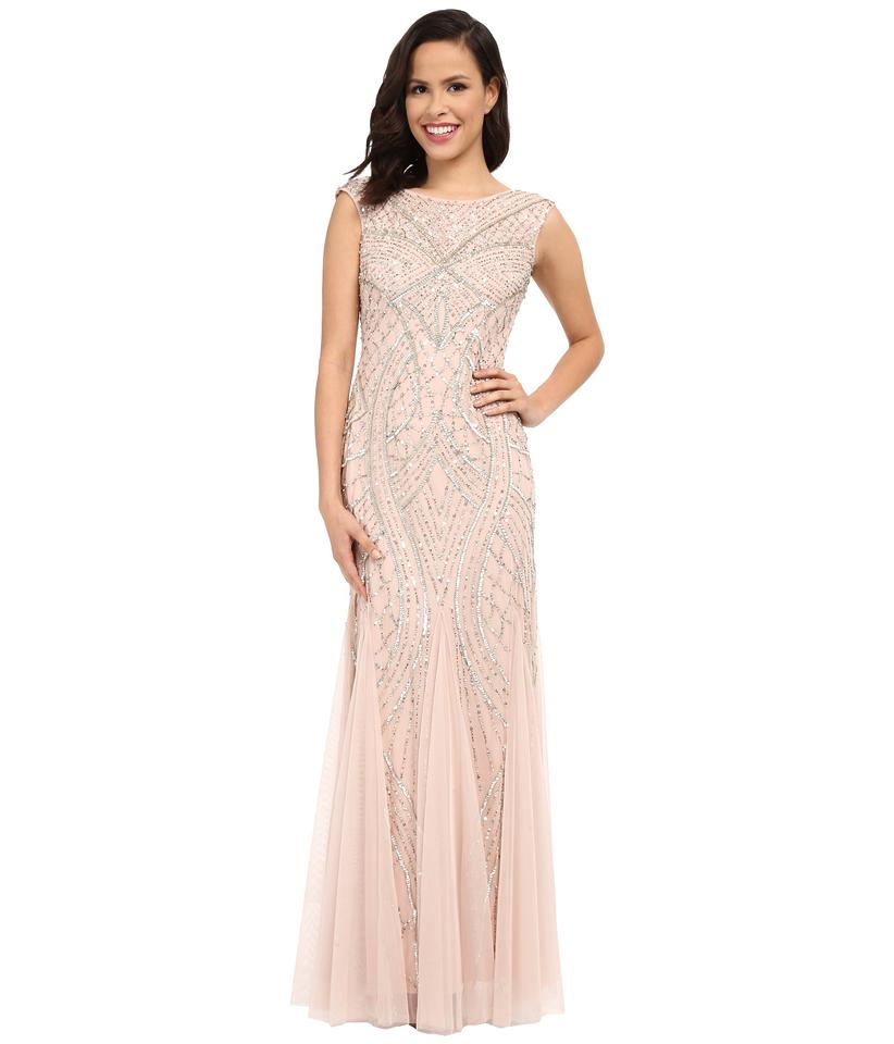 Adrianna Papell Blush Pink Beaded Gown with Godets Long Formal Dress ...