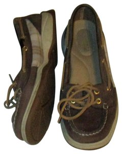 Sperry Boat Top Sider Brown and Plaid Canvas Flats