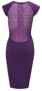 French Connection Knee Length Fitted Berry Bodycon Dress