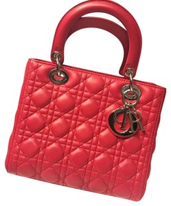 Dior Leather Lady Structured Satchel in Red