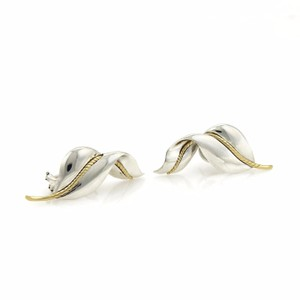 Tiffany & Co. 925 Silver & 18k Yellow Gold Leaf Post Clip Earrings