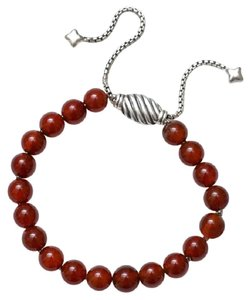 David Yurman Carnelian & Sterling Silver Bracelet, Adjustable Size