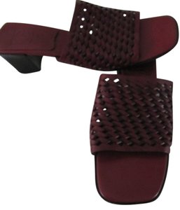 Cole Haan Genuine Leather Low Heel Comfort Woven Leather Upper Made In Brazil Slip On Dark Red Sandals