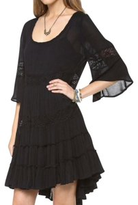 Free People Tiered Ruffle 3/4 Sleeve Lace Trim Empire Waist Dress
