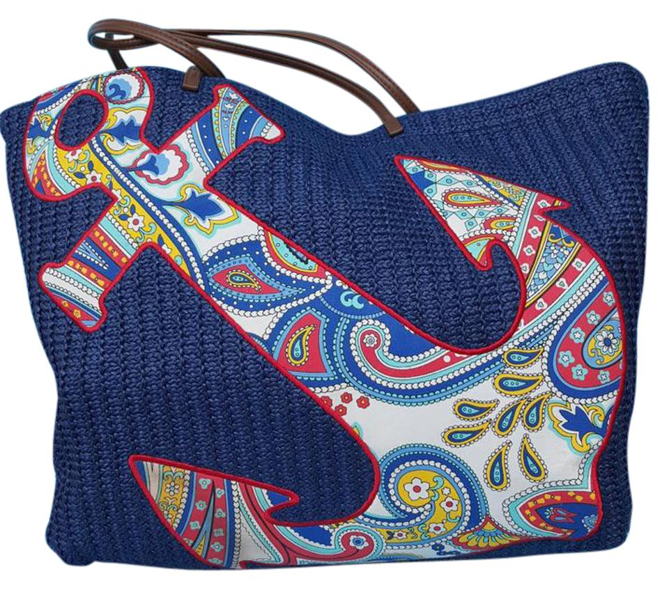 4038710c47 Vera Bradley Tote N W T Key Chain Included Navy Blue Paisley Design Woven  Straw-like Material. Faux Leather Straps Beach Bag