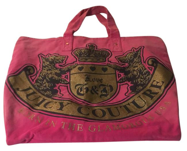 Juicy Couture Oversized Hot Gold Glitter Pink Canvas Tote Juicy Couture Oversized Hot Gold Glitter Pink Canvas Tote Image 1