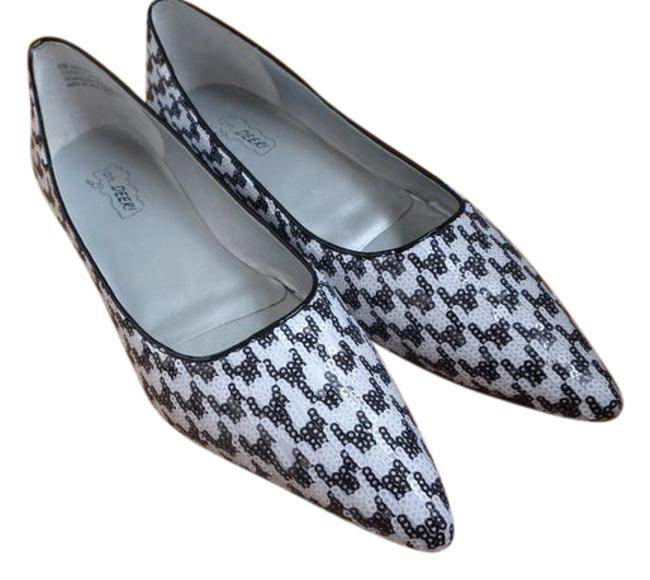 White and Black Sequined Flats Size US 8 Regular (M, B) White and Black Sequined Flats Size US 8 Regular (M, B) Image 1