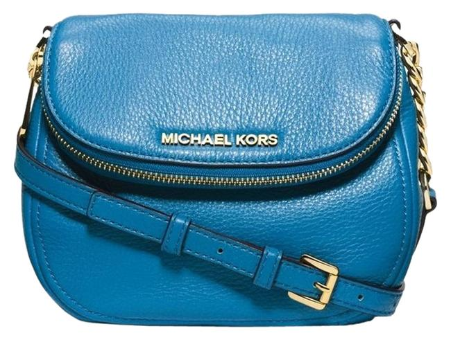 MICHAEL Michael Kors Two Piece Set:aqua Mini Wallet & Pebbled Leather Flap Cross Body Bag MICHAEL Michael Kors Two Piece Set:aqua Mini Wallet & Pebbled Leather Flap Cross Body Bag Image 1