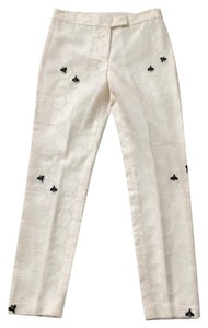 Cynthia Rowley Silk Bees Embroidered Straight Pants ivory