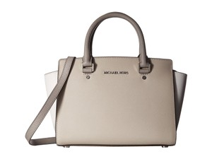 Michael Kors Selma Medium Safiano Leather Satchel in Cement / White / Pearl Grey