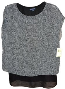 Max Studio Max Edition Black And White Layered Cap Sleeves Top Black/White