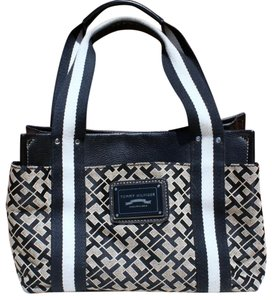 Tommy Hilfiger Classic Signature Leather Canvas Structured Tote in Multi Colored