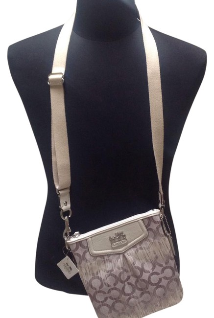 Coach Madison Multi-color Gray/Ivory Fabric with Leather Trim/Piping Cross Body Bag Coach Madison Multi-color Gray/Ivory Fabric with Leather Trim/Piping Cross Body Bag Image 1