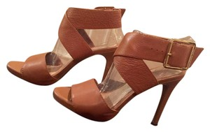 Gianni Bini Leather Straps Crisscross Strap Ankle Strap High Heel Tan Leather Sandals