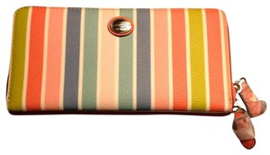 Coach Coach Multi Stripe Zip Around Wallet (New)