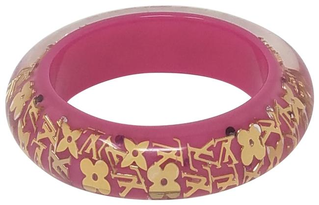 Louis Vuitton Pink Gold Resin Wide Inclusion Bangle Bracelet Louis Vuitton Pink Gold Resin Wide Inclusion Bangle Bracelet Image 1