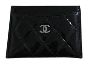 Chanel Black Patent Leather Card Case Wallet