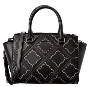 Michael Kors Leather Grommet Satchel in Black