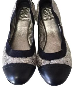 Tory Burch Silver with Navy Blue Flats