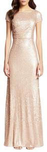 Adrianna Papell Champagne Sequins Adrianna Papell Short Sleeve Sequined Long Gown Dress