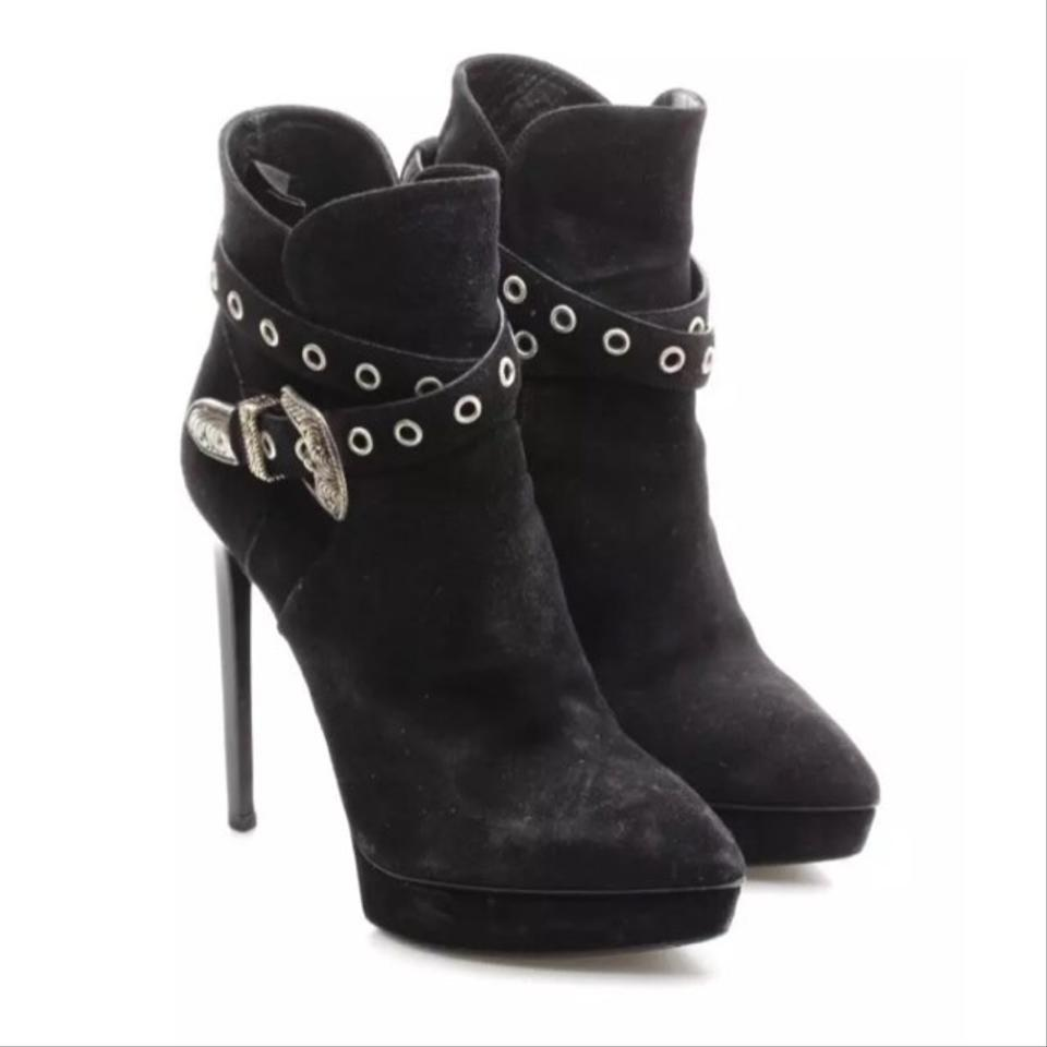 206e76027e5 Saint Laurent Janis Western Buckle Ysl Black Suede Boots/Booties Size US 9  Regular (M, B)