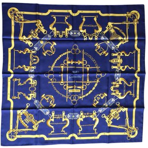 Hermès Authentic HERMES Scarf 100% Silk MORS et Gourmettes Navy Multi-Color