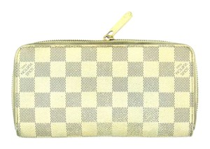 Louis Vuitton Zippy Damier Azur Canvas Leather Zip Clutch Long Wallet