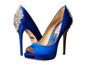 Badgley Mischka Studded Stiletto Pump Formal Sapphire Satin Platforms