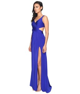 Faviana Satin V-neck Gown Fitted Formal Dress