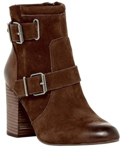 Vince Camuto Buckle Straps Suede Leather Brown Boots