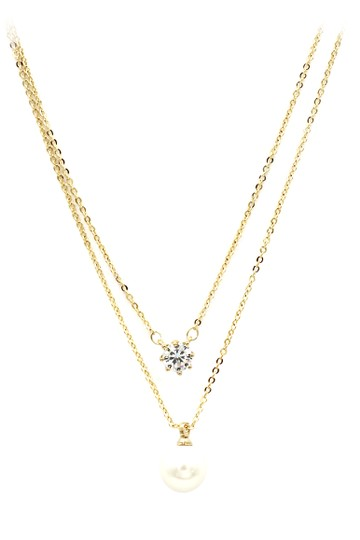 Preload https://img-static.tradesy.com/item/21256828/gold-exquisite-double-chain-crystal-pearl-necklace-0-0-540-540.jpg