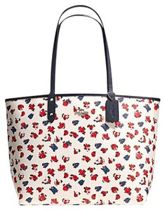 Coach Canvas Floral Reversible Tote in White Multi & Midnight Blue