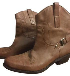 Franco Sarto Soft Leather Leather Cowboy Brown Boots