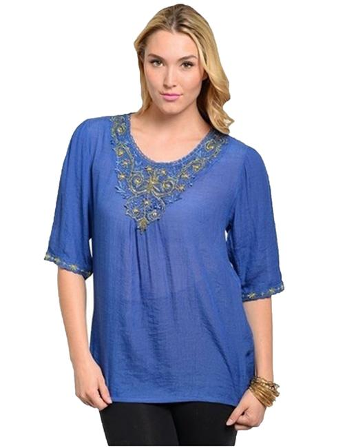 Ire Royal Blue Jade Plus Top MultiColor