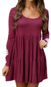 Other short dress Maroon with white lace on lower arms Babydoll Flowy on Tradesy