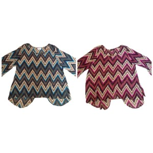 Gooya Chevron Zigzag Shirt Top Blue Purple