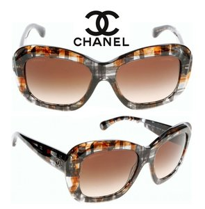 Chanel Chanel 5324 Tweed Multi Brown Over-sized Square Sunglasses