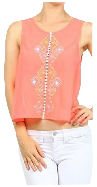 Preload https://img-static.tradesy.com/item/21257170/iris-basic-aqua-neon-pink-women-s-embroidered-hi-low-racerback-blouse-size-8-m-0-1-650-650.jpg