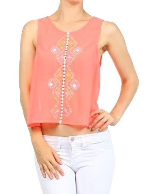 Iris Basic Tank Racerback Embroidered Top Aqua Neon Pink