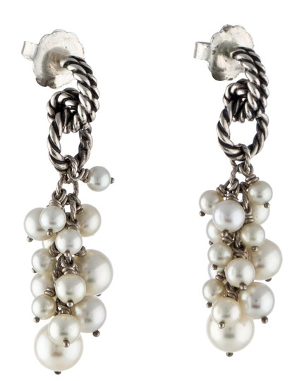 David Yurman David Yurman Sterling Silver Pearl Cluster Drop Earrings