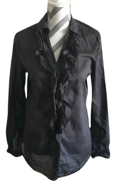 Preload https://item1.tradesy.com/images/express-charcoal-gray-ruffle-shirt-button-down-top-size-12-l-21257260-0-1.jpg?width=400&height=650