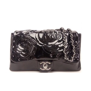 a79d8d2608ee0 Chanel Camilla Flower Double Chain Black Patent Leather Shoulder Bag ...