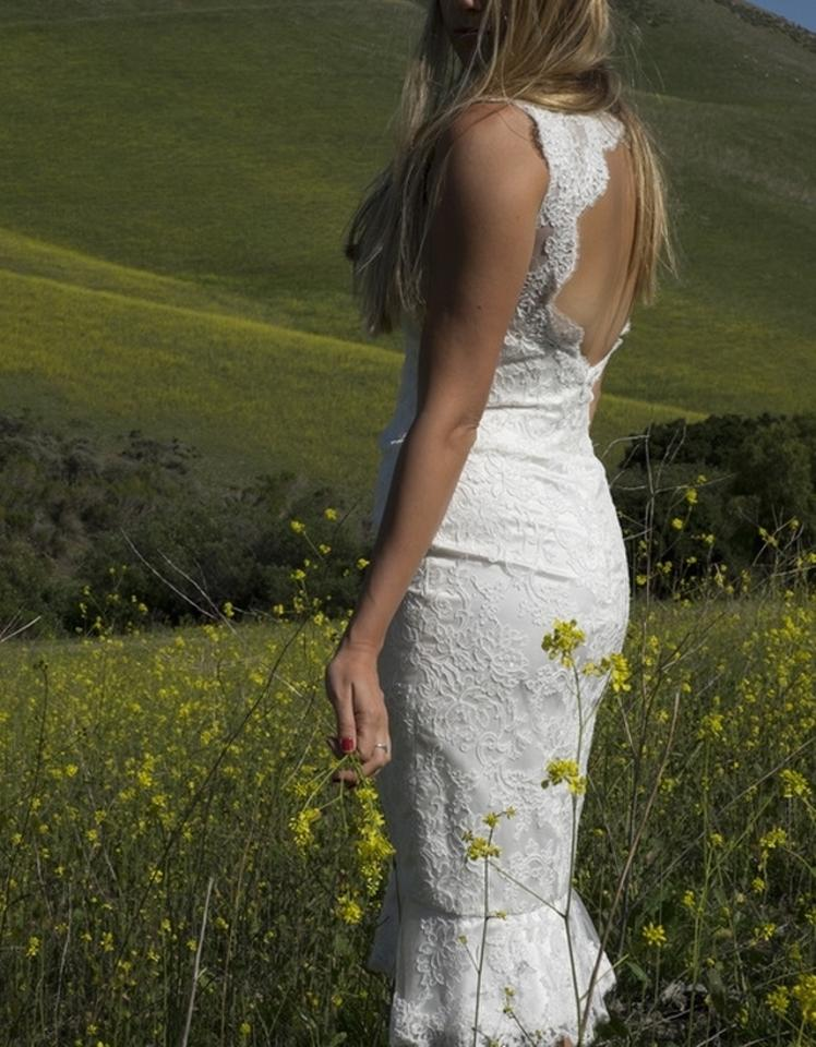 Ivory Pearl Alencon Lace Charmuse Open Back Short Sexy Casual Wedding Dress Size 6 S 80 Off Retail
