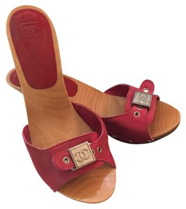 Chanel Red Mules