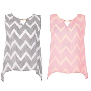 Bluebell Chiffon Tank Top Grey Pink