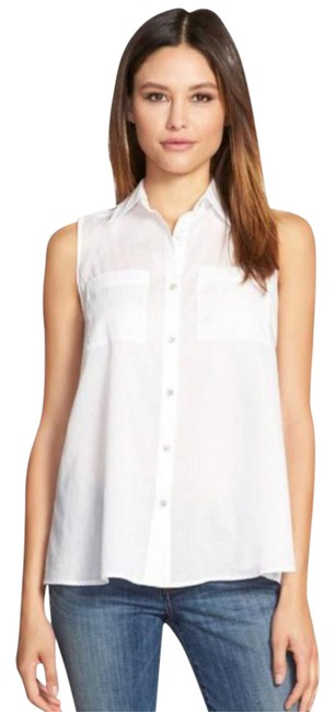 Eileen Fisher Semi-sheer Fabric Two Chest Pockets Classic Button Down Shirt NWT White