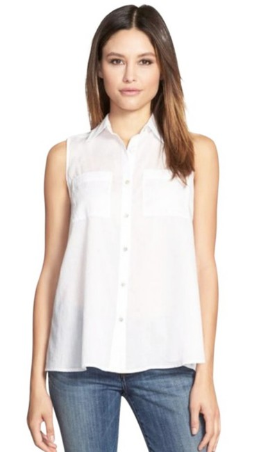 Eileen Fisher Semi-sheer Fabric Two Chest Pockets Classic Button Down Shirt White