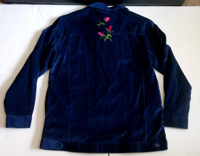 Other Nwt Women's Blue Velvet Blazer Jacket Floral And Rhinestones Size XS